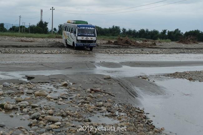 bus in river